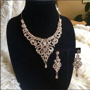 BRIDAL crystal Statement Rose Art Deco necklace